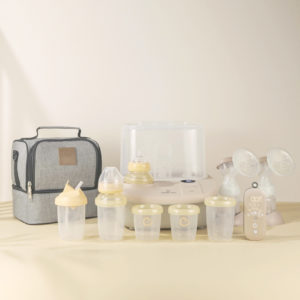 Eonian Care Newborn Baby Essential Kit with breast pump, baby bottles, cooler bag and baby bottle warmer and dryer