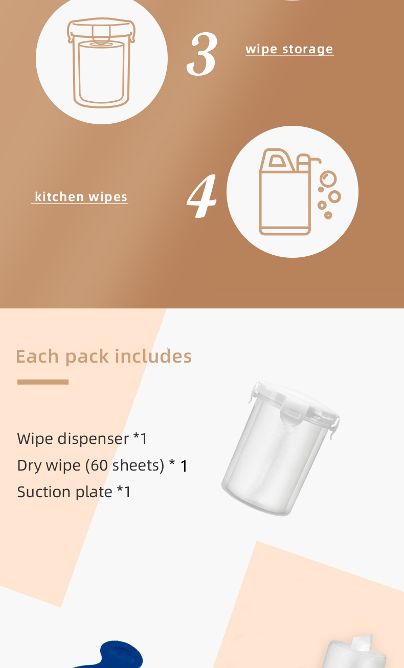 wipe dispenser, dry wipe and suction plate