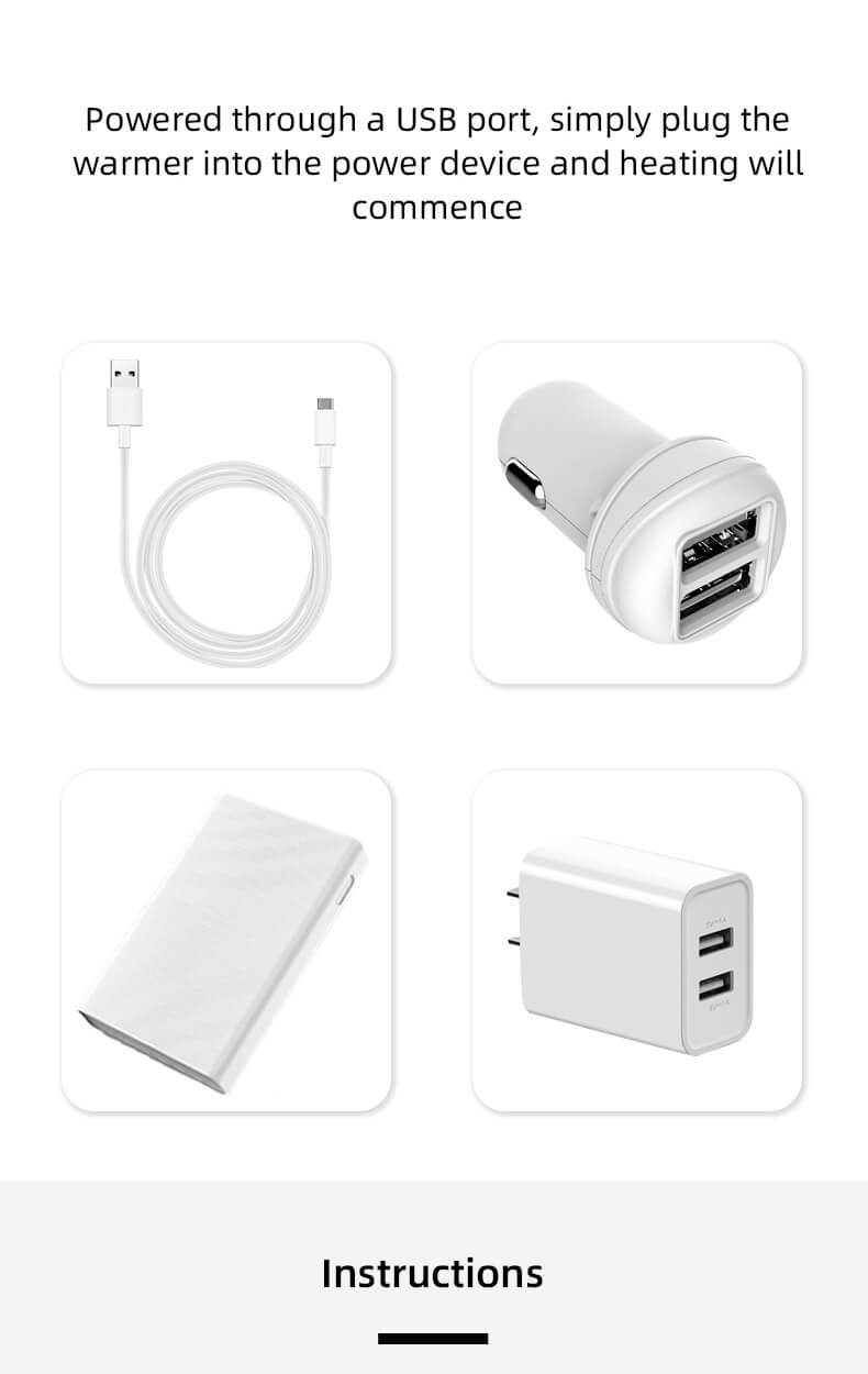 compatible with a power bank, car charger or any other power source of 5V 1-2A wipe warmer